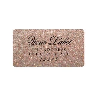 Su etiqueta de encargo - oro color de rosa Glit Etiquetas De Dirección