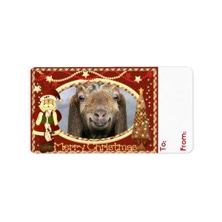 SU etiqueta del regalo del navidad de la cabra de Etiquetas De Dirección
