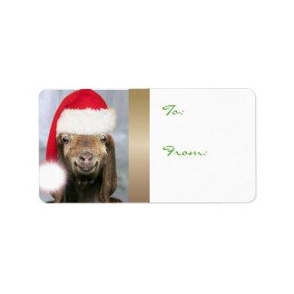 SU etiqueta del regalo del navidad de la cabra de Etiqueta De Dirección