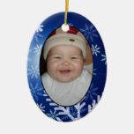 Su etiqueta y ornamento del regalo de la foto ornamento de navidad