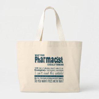 su farmacéutico está pensando realmente bolsa tela grande
