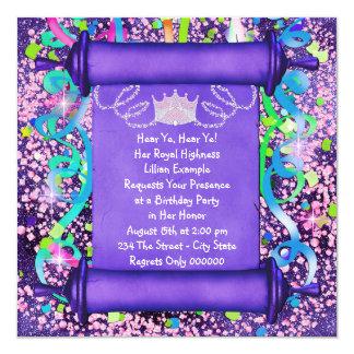 Su fiesta de la princesa cumpleaños de la alteza comunicado personalizado