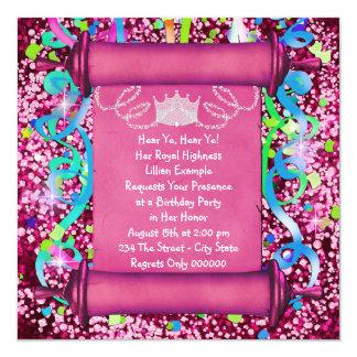 """Su fiesta de la princesa cumpleaños de la alteza invitación 5.25"""" x 5.25"""""""