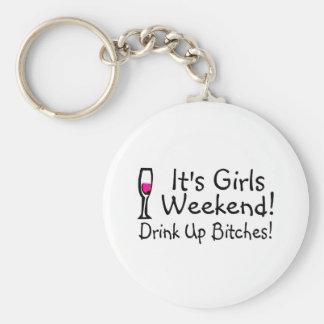 Su fin de semana de los chicas bebido encima del v llavero personalizado