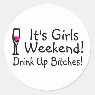 Su fin de semana de los chicas pegatina redonda