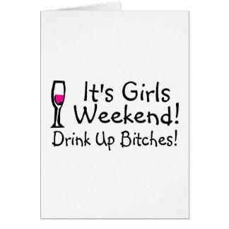 Su fin de semana de los chicas tarjeta de felicitación