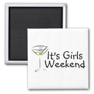 Su fin de semana Martini de los chicas Imán Cuadrado