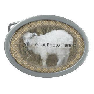 SU foto de la cabra del modelo de la plata del oro Hebilla De Cinturon Oval