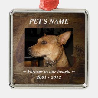 Su foto del mascota en fondo de madera bonito de adorno cuadrado plateado