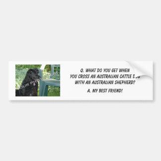 ¡Su foto! Mezcla australiana del perro del ganado  Pegatina De Parachoque