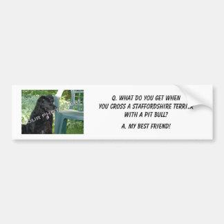 ¡Su foto! Mezcla de Staffordshire Terrier del mejo Pegatina De Parachoque