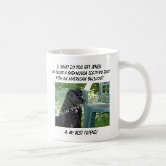 ¡Su foto! Mezcla del perro del leopardo de Catahou Taza Básica Blanca