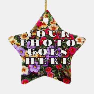 Su foto va plantilla aquí modificada para adorno navideño de cerámica en forma de estrella