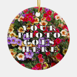 Su foto va plantilla aquí modificada para adorno navideño redondo de cerámica