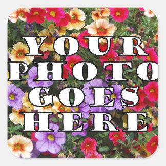 Su foto va plantilla aquí modificada para pegatina cuadrada