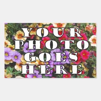 Su foto va plantilla aquí modificada para pegatina rectangular