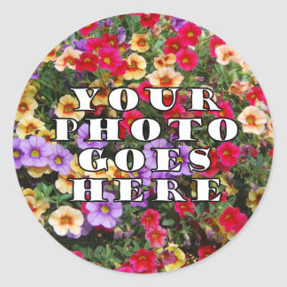 Su foto va plantilla aquí modificada para pegatina redonda