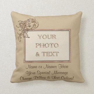 Su foto y 2 almohadas de tiro personalizadas texto cojín decorativo