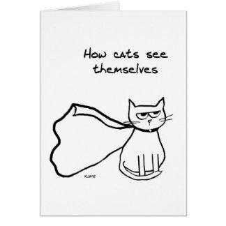 Su gato el super héroe - regalo divertido del gato tarjeta de felicitación