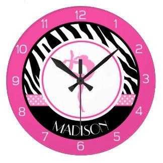 Su gimnasia conocida del estampado de zebra con reloj redondo grande
