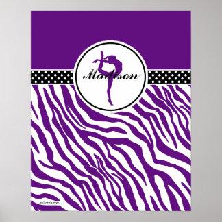 Su gimnasia conocida del estampado de zebra en póster