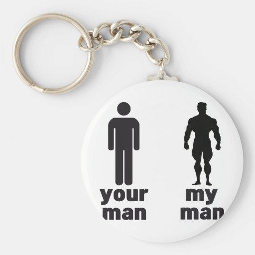 Su hombre contra mi hombre llavero