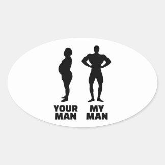 Su hombre mi marido del hombre calcomania oval personalizadas