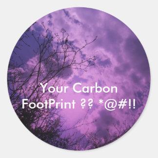 Su huella del carbono pegatina redonda