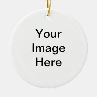 Su imagen aquí adorno navideño redondo de cerámica