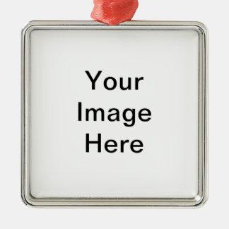Su imagen aquí esconde la plantilla adorno navideño cuadrado de metal