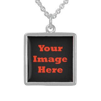 Su imagen aquí (vertical) collar de plata de ley