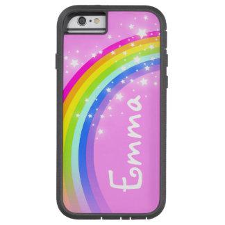 Su iPhone rosa claro del arco iris de la letra del