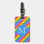 Su letra, arco iris raya el monograma etiqueta para maleta