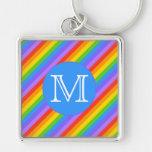 Su letra, arco iris raya el monograma llaveros personalizados