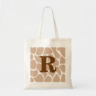 Su letra. Diseño de encargo del estampado de giraf Bolsa De Mano