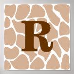 Su letra. Diseño de encargo del estampado de giraf Impresiones