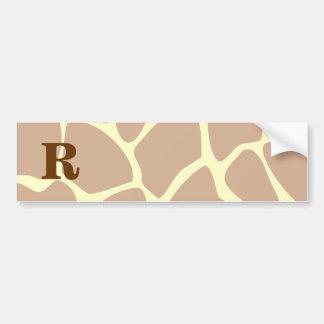 Su letra. Diseño de encargo del estampado de giraf Pegatina Para Auto