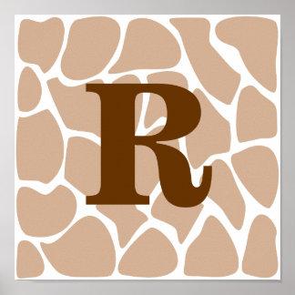 Su letra. Diseño de encargo del estampado de giraf Póster