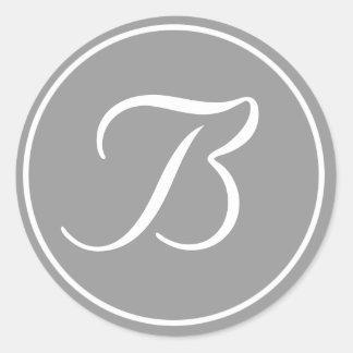 Su letra, gris inicial de encargo del monograma B Pegatina Redonda