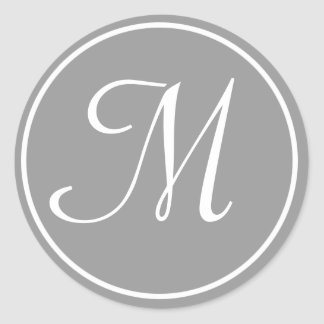 Su letra gris inicial de encargo del monograma M Etiqueta Redonda