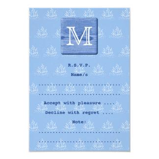 Su letra. Imagen de la madera en azul. Náutico
