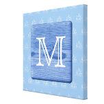 Su letra. Imagen de la madera en azul. Náutico Impresiones En Lona