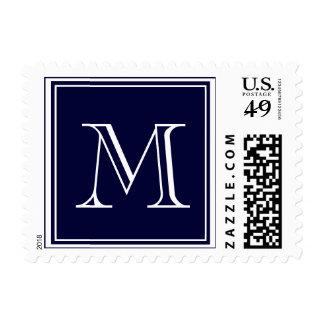 Su letra. Inicial de encargo del monograma. Azul Sello Postal