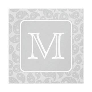 Su letra Modelo gris de Paisley con el monograma Impresión De Lienzo