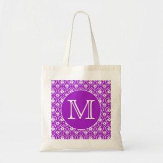 Su letra. Modelo púrpura y blanco del damasco Bolsa Tela Barata