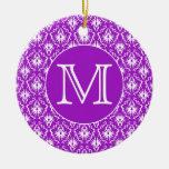 Su letra. Modelo púrpura y blanco del damasco Ornamento Para Reyes Magos