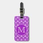 Su letra. Modelo púrpura y blanco del damasco Etiquetas Para Equipaje