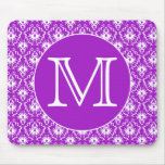 Su letra. Modelo púrpura y blanco del damasco Tapetes De Raton