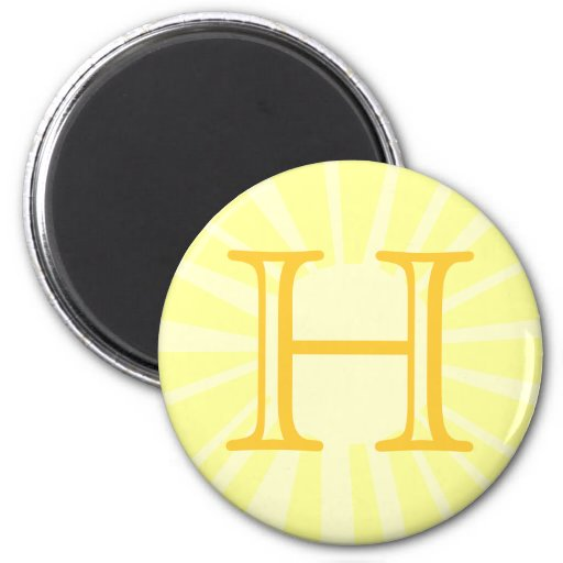 Su letra. Monograma amarillo de encargo del rayo d Imán Redondo 5 Cm