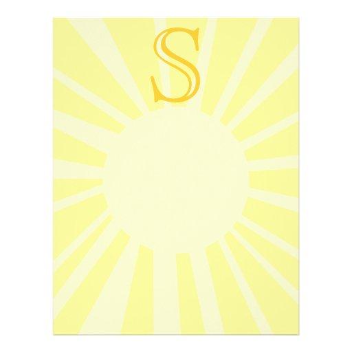 Su letra. Monograma amarillo de encargo del rayo d Membretes Personalizados